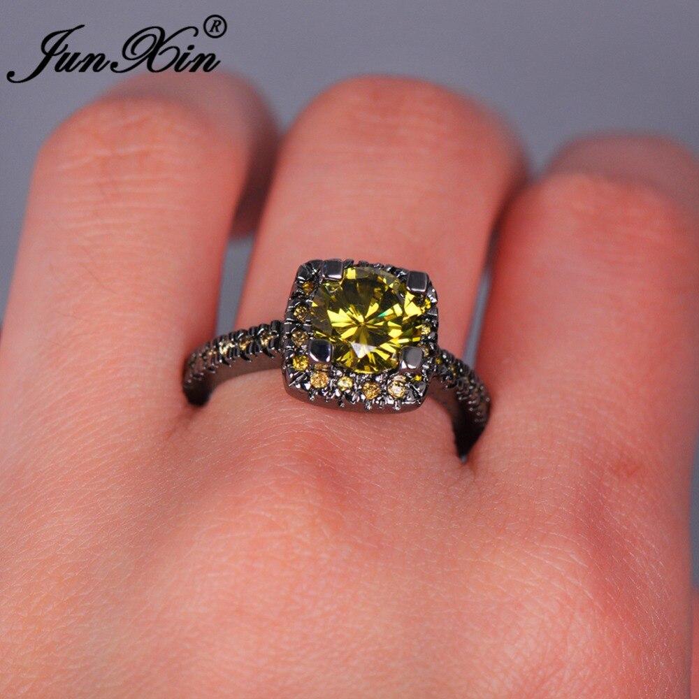 JUNXIN Male Female Big Peridot Round Ring Fashion Black Gold Filled ...