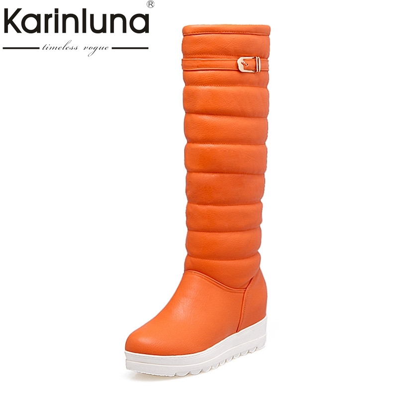 KARINLUNA Large Size 34-42 Winter Warm Fur Shoes Women Sexy Knee High Snow Boots  Waterproof Platform Wedges Heel Shoe