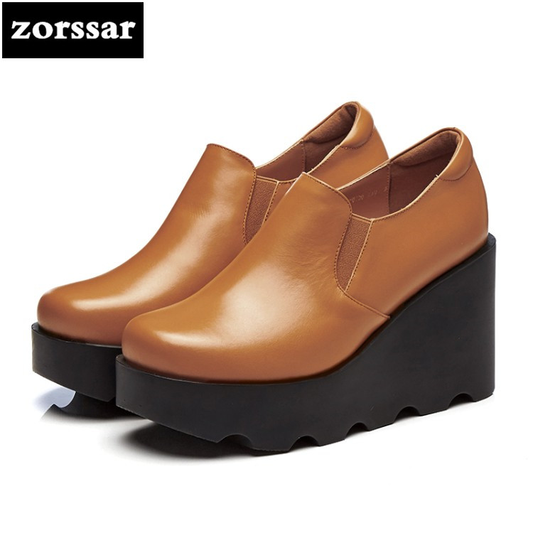 {Zorssar} 2018 NEW Genuine Leather casual womens shoes heels Wedges Slip-on High heels Platform pumps ladies Creepers shoes bling patent leather oxfords 2017 wedges gold silver platform shoes woman casual creepers pink high heels high quality hds59