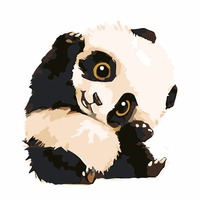 Frameless Picture Painting By Numbers DIY Oil Painting On Cotton Of Cute Cartoon Panda Home Decoration