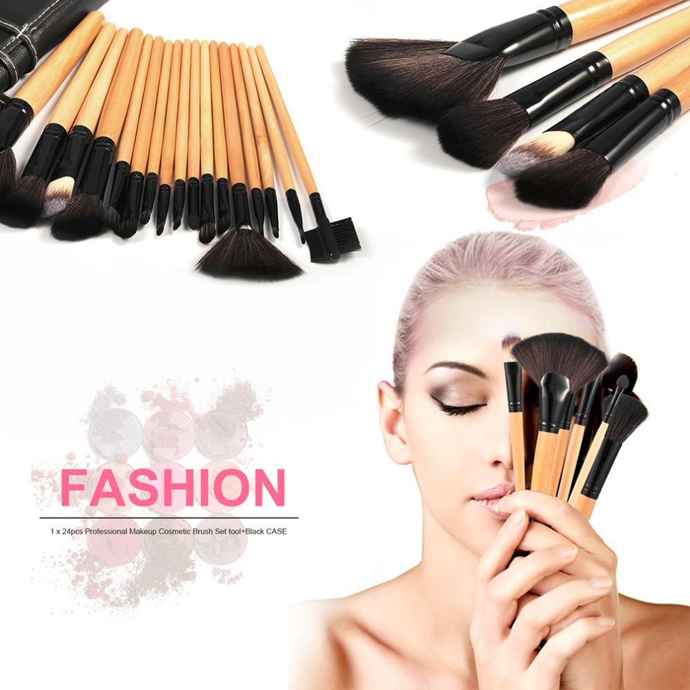 24 pcs/set Professional Makeup Brushes Eyeshadow Lip Concealer Powder Foundation Brush Set Kit Cosmetic Tool with Leather Case 4 pcs golden professional makeup brushes waistline sculpting brush set cosmetic tool maquiagem accessories with original box