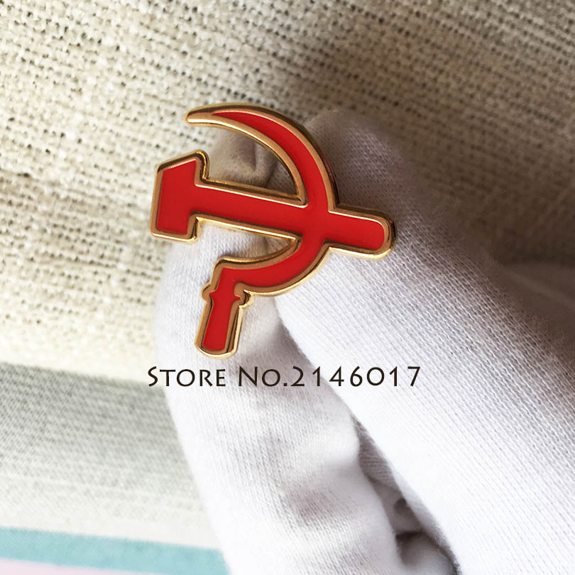 50pcs Russia Custom Pin Sovjet Sikkel Hamer Lapel Pins Military Badge 25mm CCCP USSR Soviet Sickle