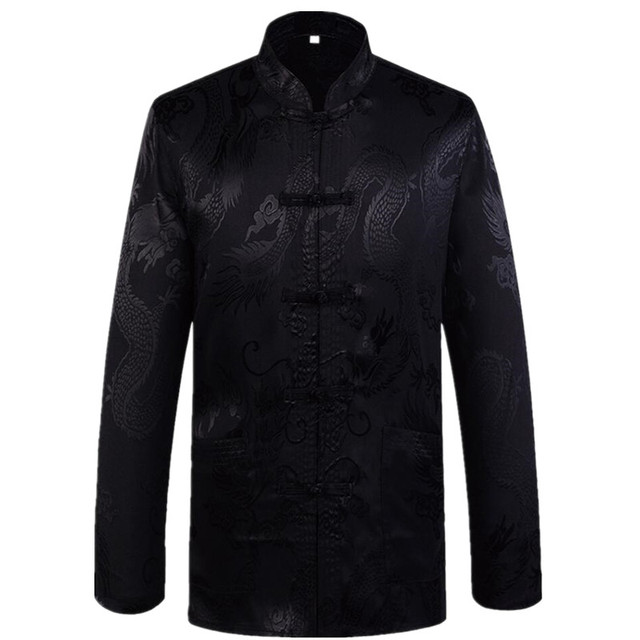 ebcaf954861e New Arrival Chinese Traditional Men's Satin Mandarin Collar Dragon Silk Tang  Suit Clothing Kung Fu Jacket Coat Plus Size S - 3XL