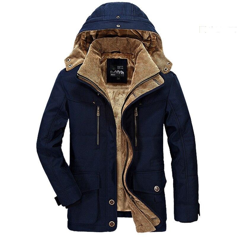 Winter Jacket Men Thickening Hooded Coat Military Cotton Padded Jacket Men Overcoat Warm Fleece With Fur