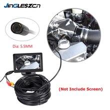 Камера Эндоскоп JINGLESZCN AV, объектив 5,5 мм, 1 м/5 м/10 м/15 м/20 м, длина 12 В, мини камера NTSC, водонепроницаемая камера Бороскоп, змеиная труба