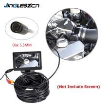 JINGLESZCN AV אנדוסקופ מצלמה 5.5mm עדשת 1 m/5 m/10 m/15 m/20 m אורך 12V מיני NTSC Waterproof פיקוח Borescope מצלמת נחש צינור