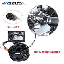 JINGLESZCN AV Endoscope Camera 5.5mm Lens 1m/5m/10m/15m/20m Length 12V Mini NTSC Waterproof Inspection Borescope Cam Snake Pipe