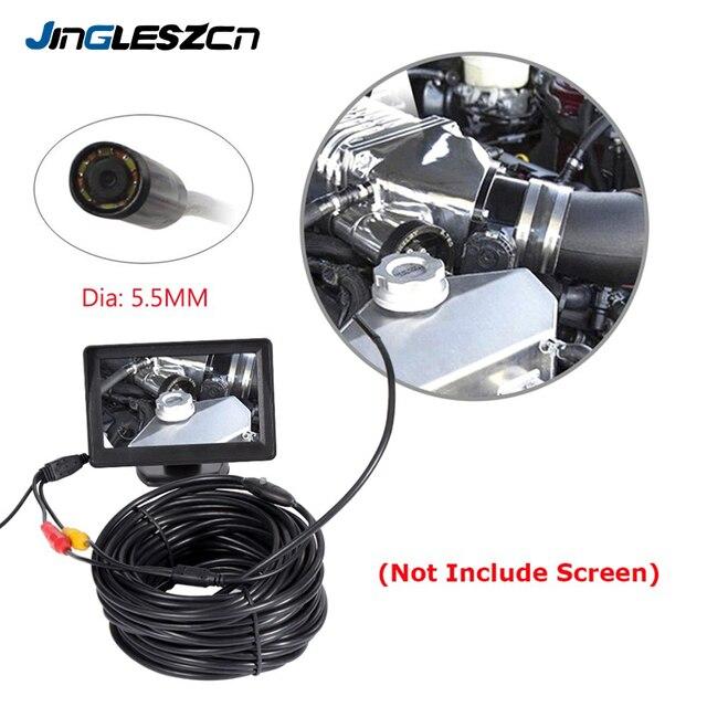 JINGLESZCN AV kamera endoskopowa 5.5mm obiektyw 1 m/5 m/10 m/15 m/20 m długość 12V Mini NTSC wodoodporny boroskop inspekcyjny Cam wąż rury