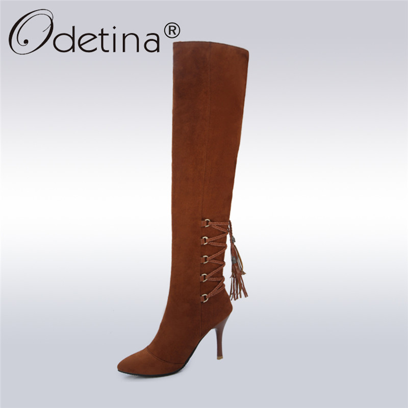 Odetina 2017 New Fashion Women Faux Suede Thigh High Boots Stiletto Heel Pointed Toe Over The Knee Boots High Heel Lace Up Shoes women ultrathin lace top sheer thigh high silk stockings fashion style new gh