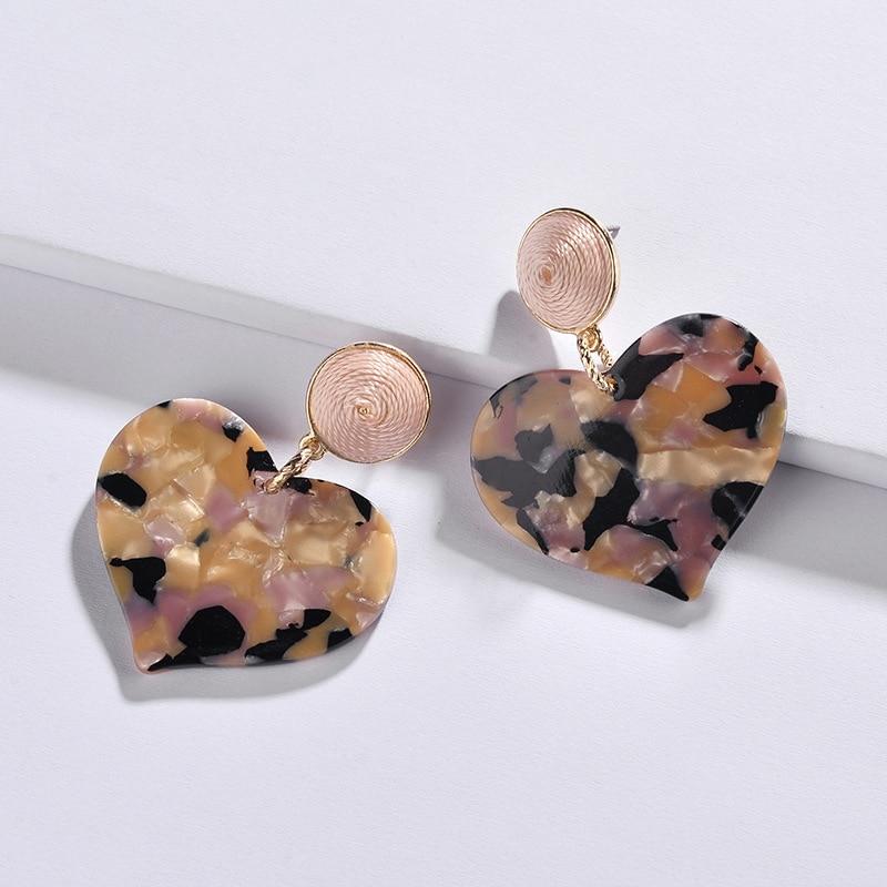 2018 New Threaded Ball Acrylic Love Heart Drop Earrings for Women ... 664b993026e0