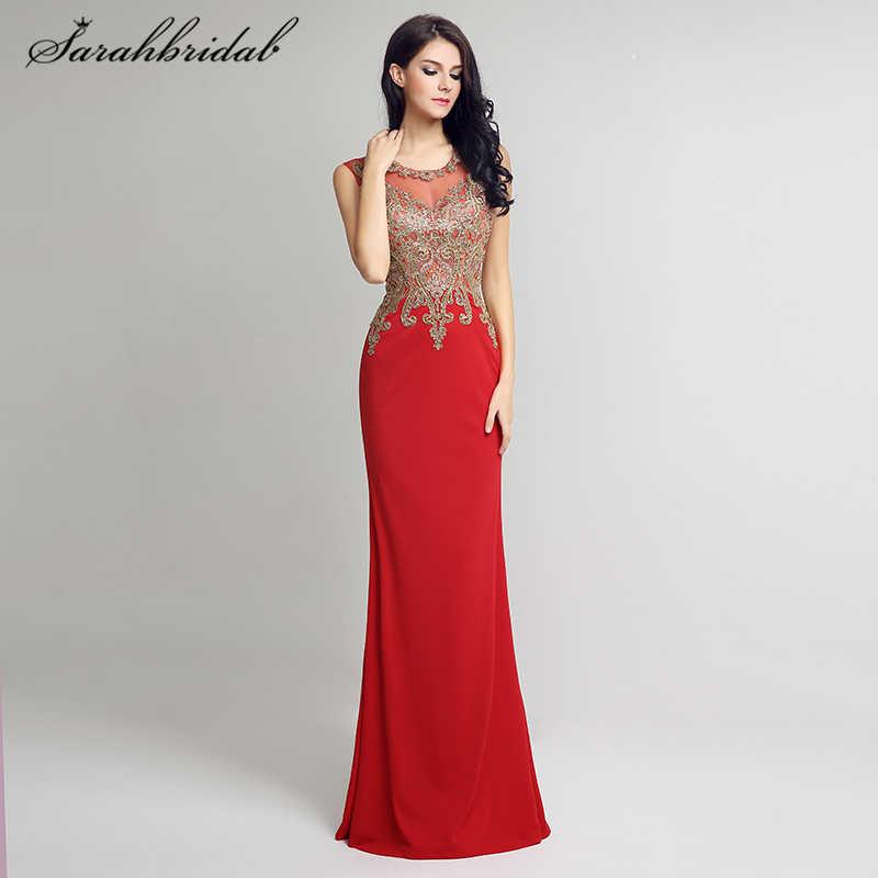 1c312520a51 Элегантные пикантные вечерние платья Красные Длинные Русалка бисера золотой  вышивкой пола Длина молния о-образным