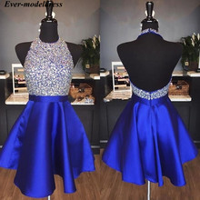 Graduation-Dresses Modest Cocktail Short HALTER Satin Beaded Party-Gowns Homecoming Crystal
