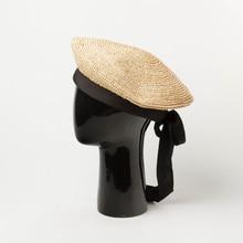 01905-HH7282 handmade raffia long black bowknot lady beret cap men women leisure