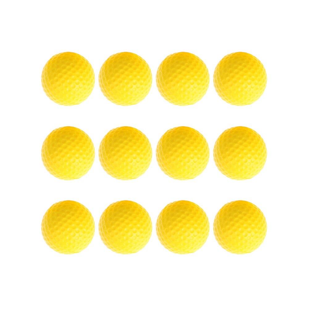 12pcs/lot Baby Kids Toy Ball Yellow PU Foam Sponge Golf Practice Balls Indoor Outdoor Fun Baby Training Playing Toy Balls