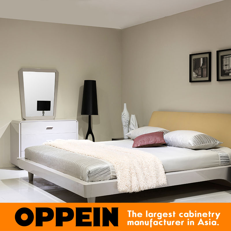 Simple Design Light Color Afforadable White Bed Furniture Solid Wood Leather Bed Wb Tm160006