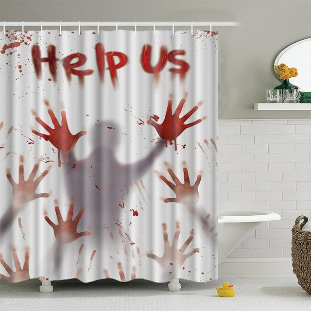 Shower Curtain Halloween Pattern Creative 3D Definition Printing Waterproof Moisture Proof Mold Bathroom Supplies