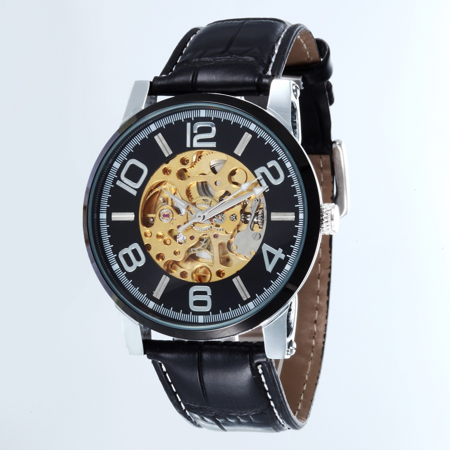 GOER brand Skeleton man automatic watch Male wrist watch Leather mechanical waterproof Luminous digital movement