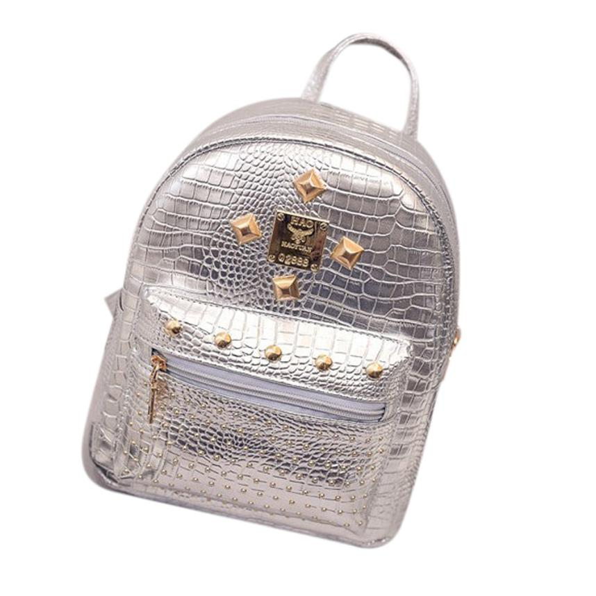 Women Leather Backpacks Rivet Silver Casual Shouders Summer Satchel College Travel Backpack School Bag Mochilas Femininas 2017 stylish women s satchel with rhinestone and rivet design