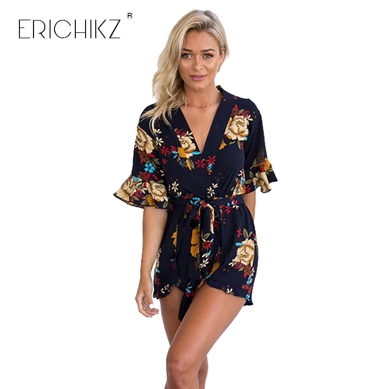 ERICHIKZ Franchised Store ERICHIKZ Women Summer Half Flare Sleeve Floral Printed Playsuit Sexy V Neck Lady Jumpsuit With Belt Causal Beach Style Overalls