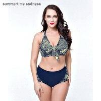 2017 Spring Summer New Arrival Bikini Push Up Swimwear Women Gather Swimsuit Plus Size Big Cup