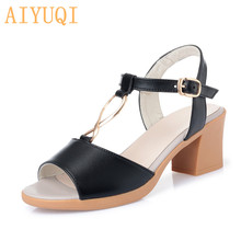 AIYUQI Sandals women high heels 2019 new summer footwear genuine leather fashionable open toe shoes women sandals Roman style wetkiss wood high heels women summer sandals pointed toe footwear genuine leather sandals shoes new fashion office female shoes