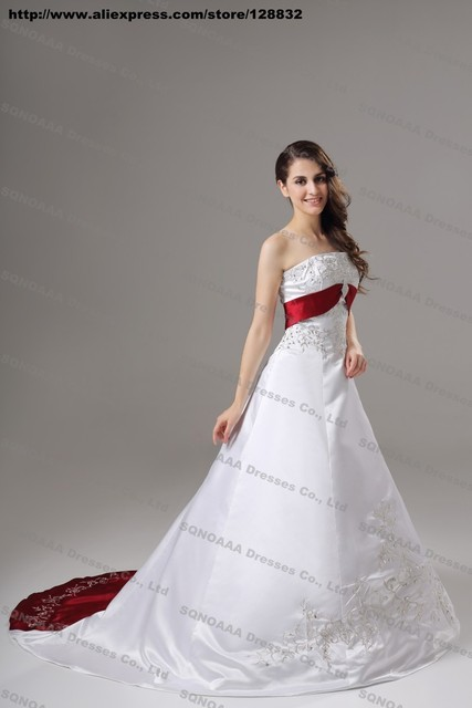 Designer Silver Embroidery White Dark Red Stain A line Wedding Dress ...