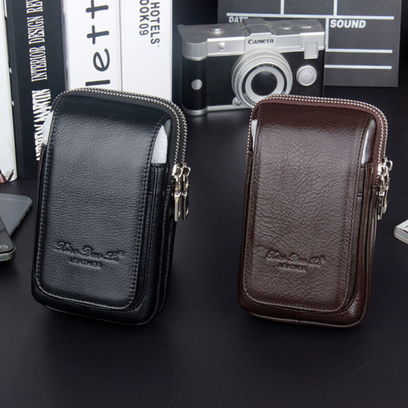 Genuine Leather Men Fanny Waist Bag Cell/Mobile Phone Coin Purse Pocket Belt Bum Pouch Pack Classic Fashion Hip Bag Pouch