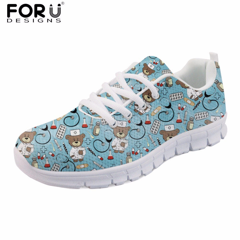 FORUDESIGNS Blue Cartoon Nurse Bear Print Light Lace Up Shoes Women Casual Nurses Breathable Mesh Shoes Cute Girls Walking Shoes forudesigns women casual sneaker cartoon cute nurse printed flats fashion women s summer comfortable breathable girls flat shoes