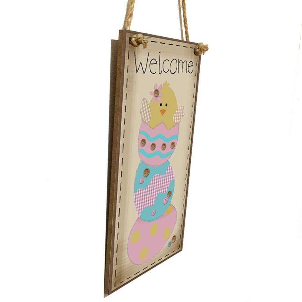 Sign Pink Wooden Polka Dot Happy Easter Wall Hanging Plaque