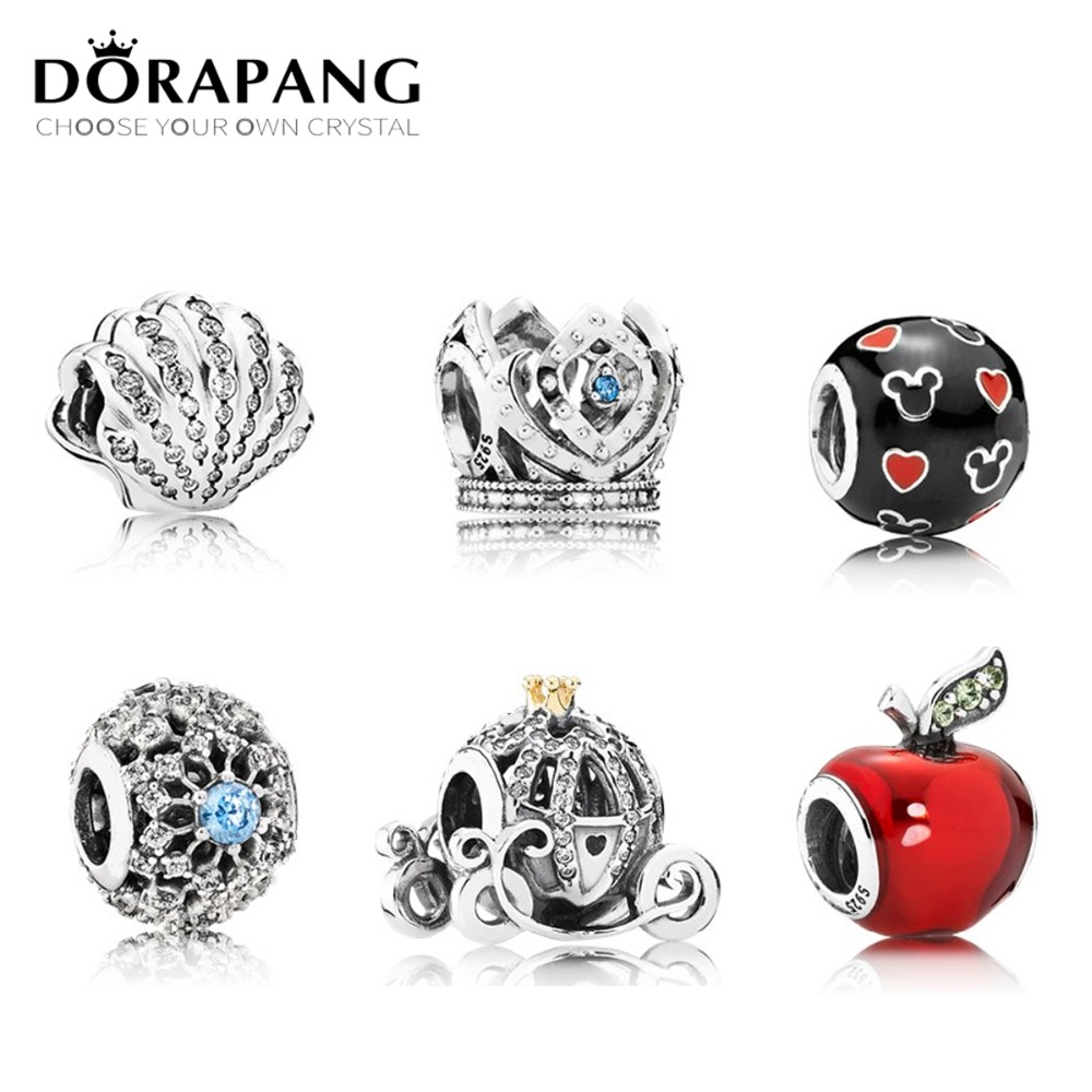 DORAPANG 100% 925 Sterling Silver Charm Bead Piercing Heart Hollow Crystal Fit European Women DIY Bracelet Factory Wholesale