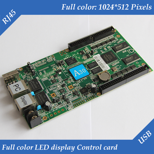 HD A30 1024 512pixels vedio and audio output asynchronous led full color display controller card