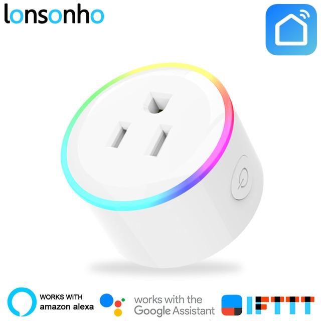 LonSonHo Ổ Cắm Thông Minh Wifi Ổ Cắm Thông Minh HOA KỲ Cắm Ổ Cắm 10A Tác Phẩm với Google Nhà Mini Alexa IFTTT Cuộc Sống Thông Minh ỨNG DỤNG