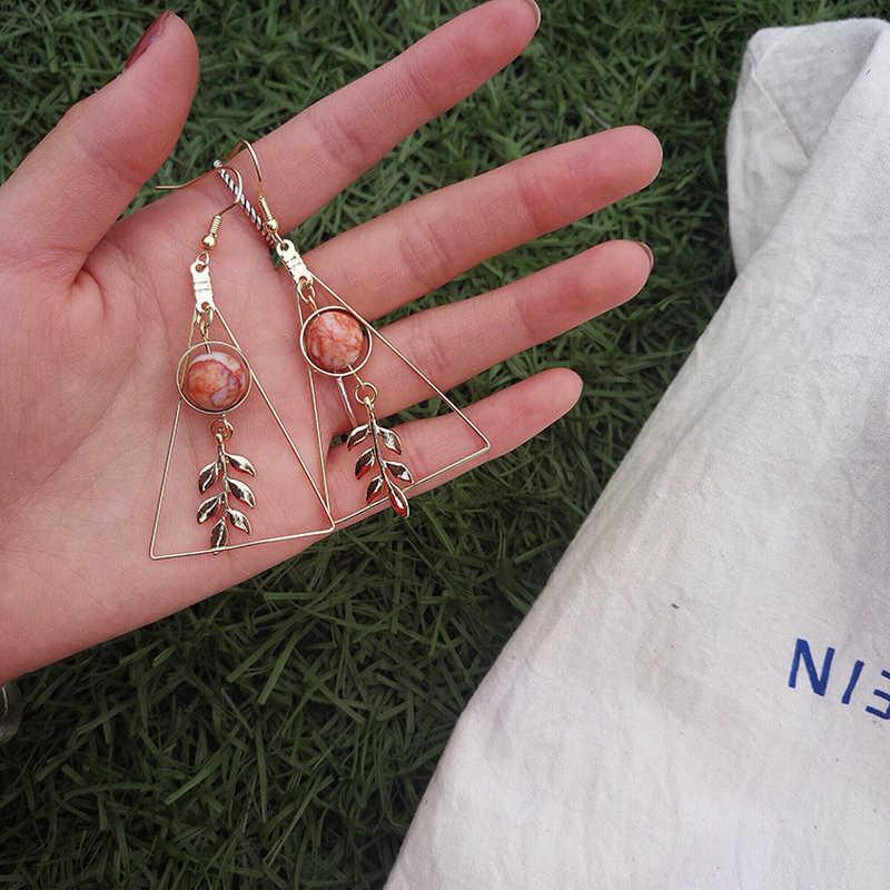 Piercing Dreieck Ohrringe Für Frauen Ohrringe Mode Schmuck Gold-Farbe Retro Perle Blatt Schmuck 2018 KA080 KA081