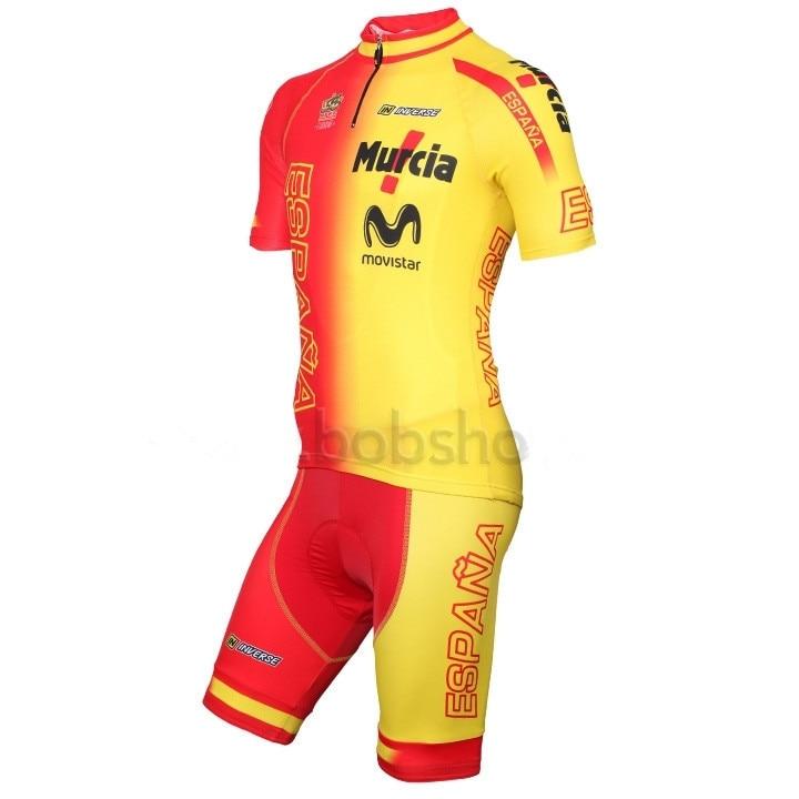 Prix pour Nouveau Vélo Maillot Manches Courtes et cuissard Roupa Ciclismo Équipe Espagne Vêtements maillot ciclismo Vélo Jersey fermeture à glissière Pleine