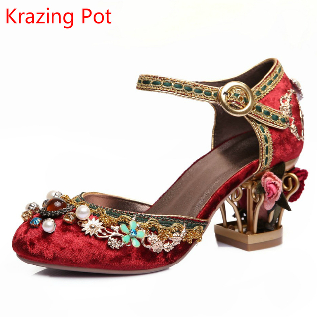 Superstar Brand Shoes Bird Cage Luxury Large Size Flower Pearl High Heels  Women Pumps Party Wedding Crystal Ankle Strap Shoes afb20b10d971