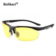 RoShari Hombres aviator gafas de sol Polarizadas de los hombres diseñador de la marca Polaroid Conducción Nocturna gafas de sol para los hombres gafas de sol hombre TR903