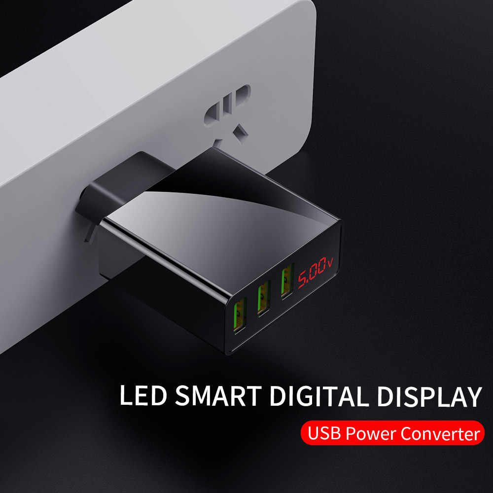 Uni Eropa USB Charger 3 Port LED Display Cepat Charger Plug untuk Iphone Samsung Xiaomi Huawei Dinding Perjalanan Smart Ponsel Desktop charger
