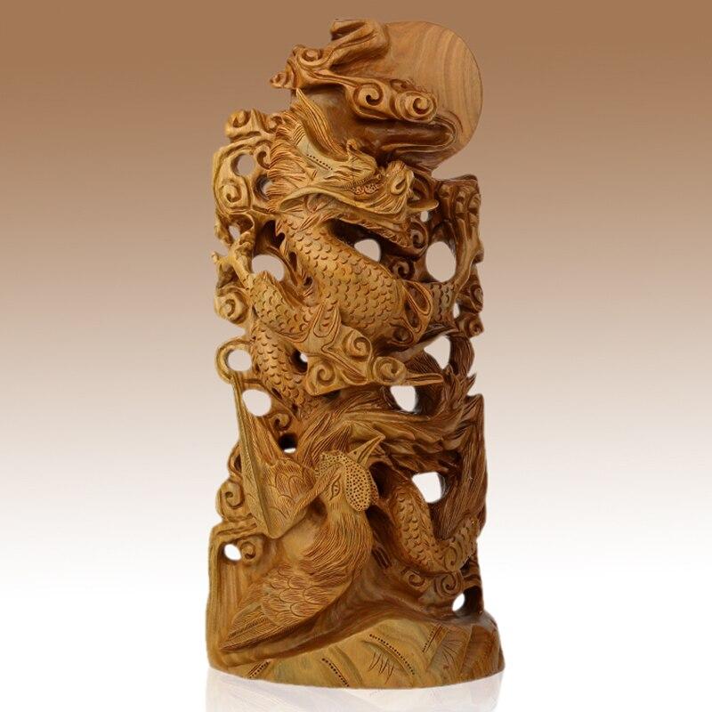 Йа ксуанзаи изделие из красного дерева украшение резьбы по дереву фэн шуй зеленый сандаловое дерево Феникс бизнес подарок на день рождения
