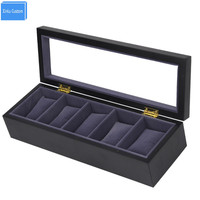 luxury Design 2017 New Muted Black Wooden 5 Slots Watch Gift Boxes Black Velvet Cushion Display Storage boite rangement montres