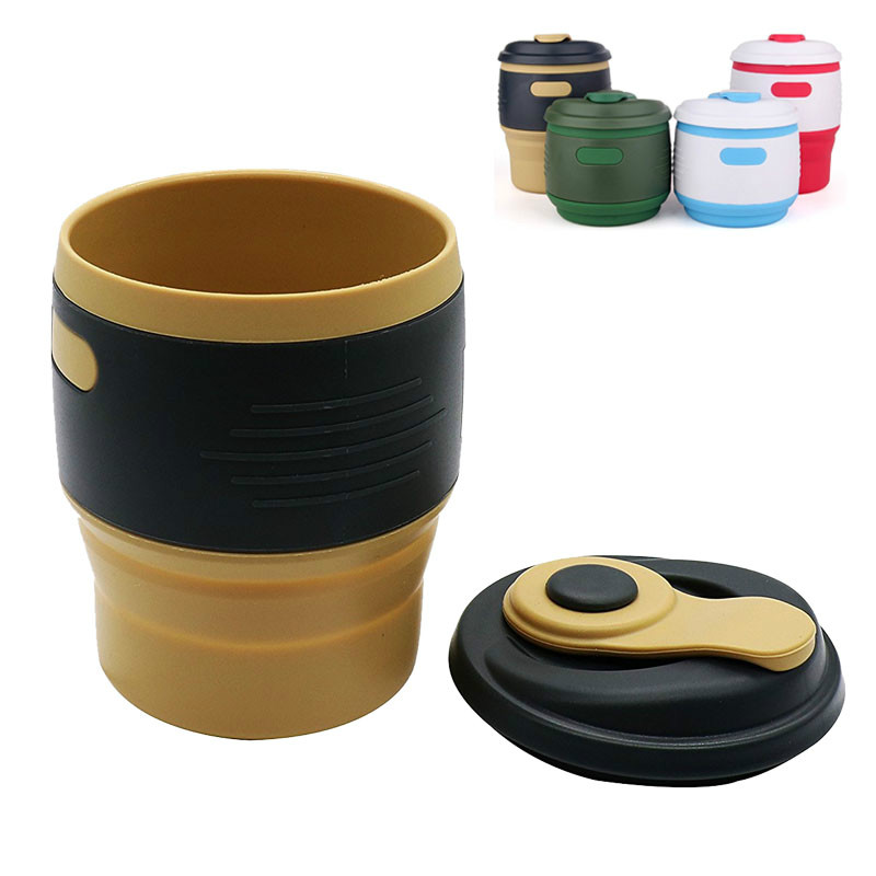 FDA Portable 1Pcs Silicone Collapsible Coffee Cup Resuable Travel Coffee Cup for Camping Leak Proof Fold Water Cup