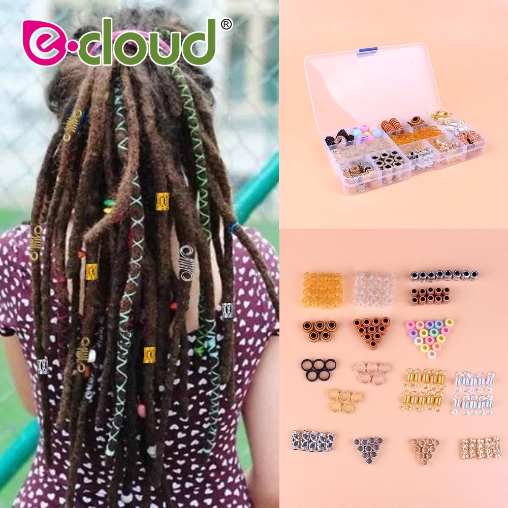 114Pcs Metal Hair Cuffs Braiding Hair Beads hair beads for braids wood dreadlock beads hair rings Accessories with Storage Box