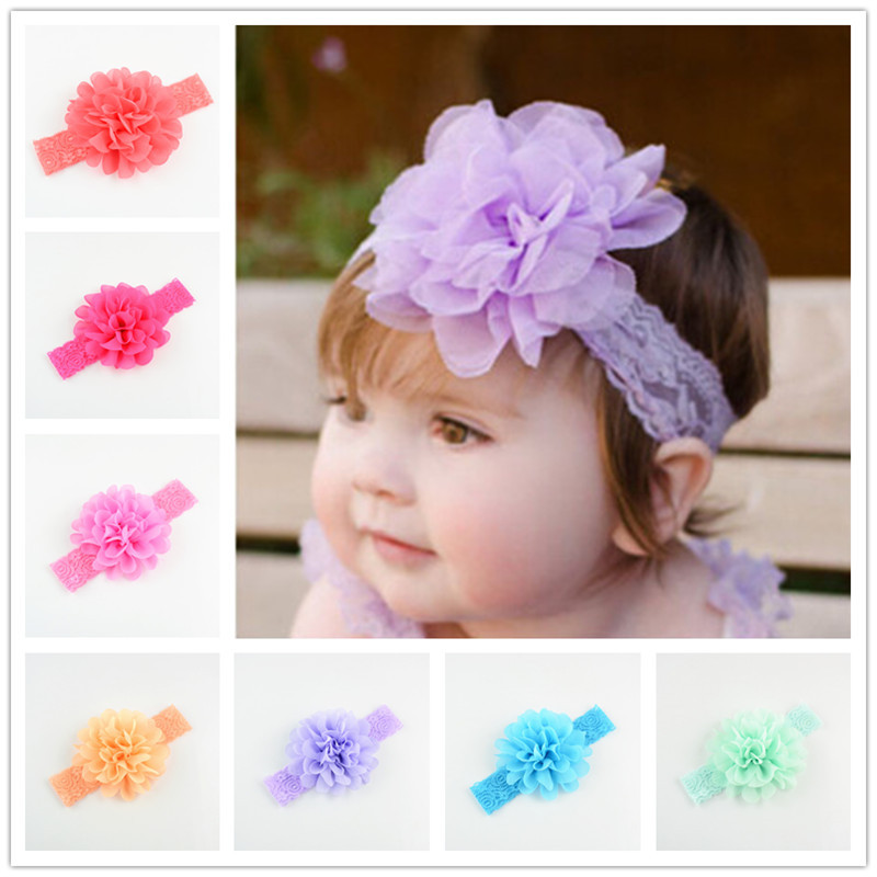 20pcs/lot 16 colors Girls Headband Chiffon Flower Baby Headband Lace Hairband Baby Flowers Headband Baby Girl Toddler Headbands