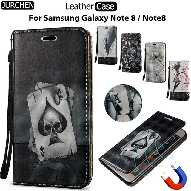 JURCHEN Capa For Case Samsung Galaxy Note 8 Case SM-N950F Wallet Holder Leather Flip Cover For Samsung Galaxy Note 8 Phone Case