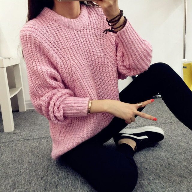 2015 Autumn Winter Fashion Loose Thick Warm Sweater Women's Casual ...