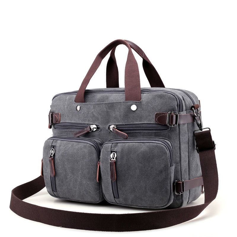 Men Handbags Canvas Shoulder Crossbody Messenger Bags Solid High Capacity Man Casual Travel Multifunction Back Pack Laptop 2018-in Shoulder Bags from Luggage & Bags