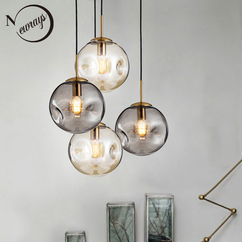 Modern Loft Glass Ball Pendant Light LED E27 Nordic Hanging Lamp With 2 Colors For Living Room Restaurant Bedroom Lobby Kitchen