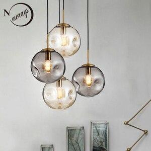 Image 1 - Modern loft glass ball pendant light LED E27 Nordic hanging lamp with 2 colors for living room restaurant bedroom lobby kitchen