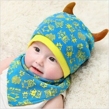 hot sale baby knitted hat winter beanie bandana bibs saliva towel monster cap head scarf set girls hats boys cap toddler hat