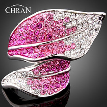 Chran Rhodium Plated Pink Crystal Finger Rings for Women Classic Leaf Design Statement Jewelry Accessories