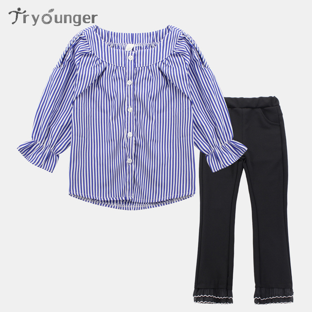 2769531867a7 Clothes Set For Girls Striped School Blouse+Pants 2 Pcs Autumn ...